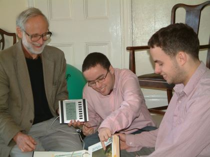 David, Peter and John with my Xmas present, a weather station, Colchester, 25 December 2005